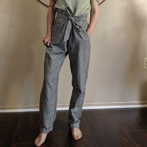 Zara plaid black high rise tapered leg pants small